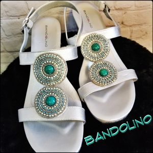 Bandolino Silver Beaded Comfort Sandals, Size 10